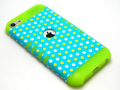 CellPhone Trendz Hybrid 2 in 1 Case Hard Cover Faceplate Skin Lime Green Silicone and Yellow White Blue Light Polka Dots Snap Protector for Apple iPod iTouch 5 (5th Generation)