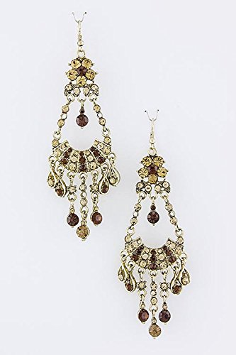 TRENDY FASHION JEWELRY CRYSTAL CHANDELIER EARRINGS BY FASHION DESTINATION | (Topaz)