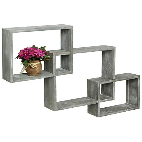 MyGift WallMounted Weathered Grey Wood Interlocking Shadow Boxes Floating Box Display Shelves Set of 3