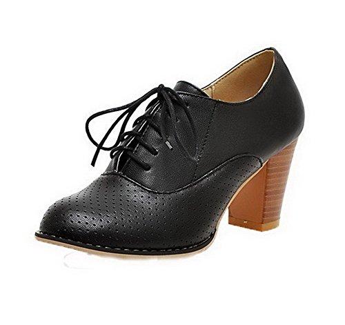 Allhqfashion Donna Tacco Alto Solido Lace-up Pu Tacco Chiuso Pompe-scarpe Nere