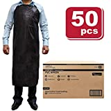 SAFE HANDLER PVC Apron | Smooth Finish to Prevent Bacterial Growth, Comfortable, Easily Adjustable, Waterproof Material, BLACK (Case of 50)