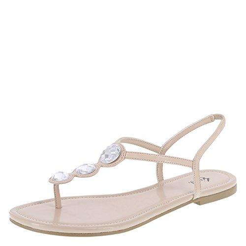 Fioni Women's Nude Women's Present Flat Sling 9 Regular (Slings Flats Shoes)