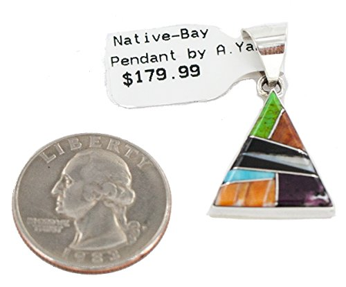 180 Retail Tag Authentic Triangle Navajo Made By Arnold Yazzie Silver Natural Multicolor Real Handmade Native American Inlaid Pendant