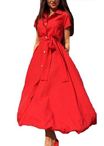 donne Coolred Rosso Colore Cintura Diviso Maxi Altalena Pulsante Singolo Abito Puro Lungo d6nqrO6