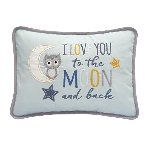 Lambs & Ivy Happi By Dena Night Owl I Love You To The Moon and Back Decorative Pillow, Blue from Lambs & Ivy