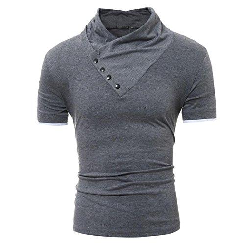 Personality Men's Hoodie T Shirt Casual Slim Solid Short Sleeve Top ()
