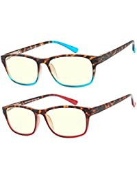 487c569bbb5 Computer Glasses 2 Pair Anti Glare Anti Reflection Spring Hinge Ombre Color  Computer Reading Glasses for