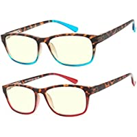 Computer Glasses 2 Pair Anti Glare Anti Reflection Spring Hinge Ombre Color Stylish Computer Reading Glasses for Men and Women