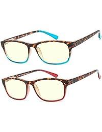 2 pares de anteojos de computadora antideslumbrantes, con bisagra de resorte, color ombre, anteojos de lectura para hombres y mujeres