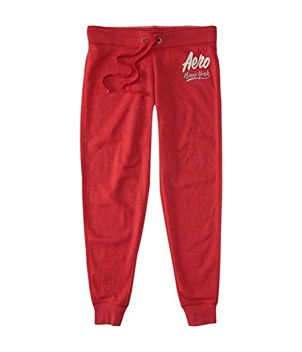 Aeropostale Womens New York Slim Casual Jogger Pants, Red, X-Small