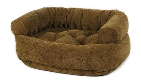 Diamond Microvelvet Double Donut Pet Bed - Pecan Filigree (Small: 27 x 22 x 14 in.) by Bowsers