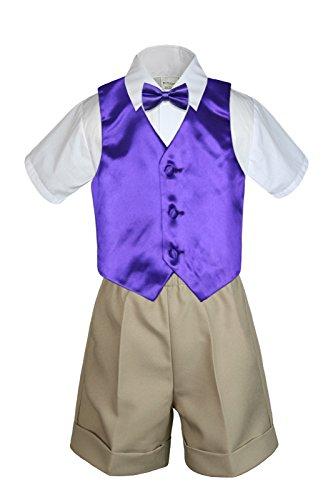 Unotux 6pc Baby Boy Toddler Khaki Formal Shorts Suit Extra Vest Bow Tie Set S-4T (L:(12-18 months), Purple)