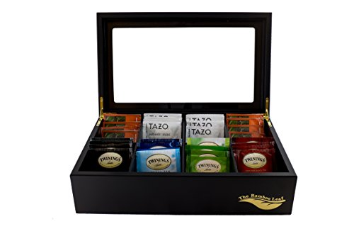 The Bamboo Leaf Luxury Wooden Tea Storage Chest Box, 8 Compartments w/ Glass Window (Black)