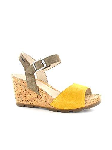 STONEFLY 108.286 goldgelb beige Frauenschuhe Keilwildleder Schnalle Sandalen Giallo