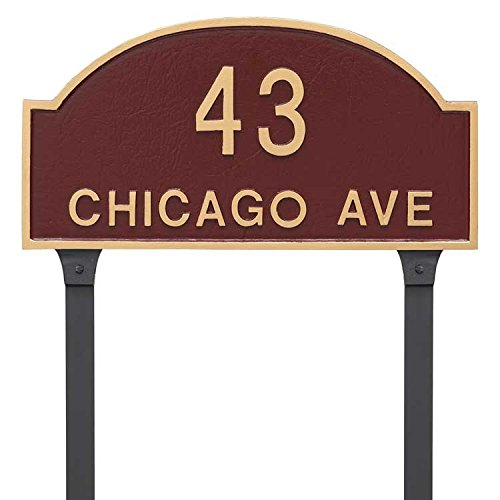 (Comfort House Metal Address Plaque Personalized Lawn Mount. Display your house number street name. Custom house number sign)