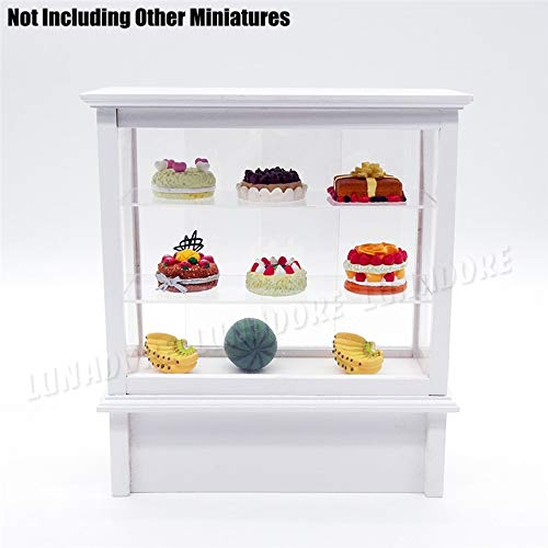 Cake Display Refrigerator - 1 12 Miniature Cake Showcase Bakery Store Cabinet Counter Shelving Dollhouse Shop Furniture - Sand Cabinet Shop Jars Instruments Artificial Doll Corner Clothes K