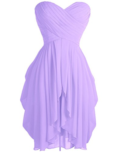 - FEESHOW Junior's Party Chiffon Dresses Strapless Sweetheart Lace Up Back Dresses Prom Homecoming Dresses Light Purple 4