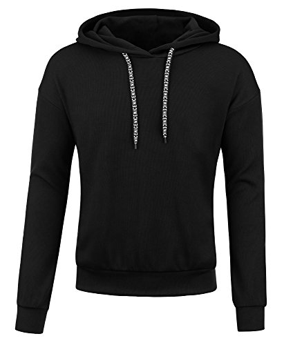 Hoodies For Men Solid Colors Pullover Hooded Sweatshirts (Large, Black) by Payeel (Image #4)