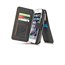 Felidio iPhone 6 Wallet Case, Retro Genuine Leather Case for iPhone 6 6s with Card Holder Zipper Pockets Magnetic Flip Cover [2 in 1] Black