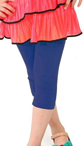 Khanomak Kids Girls Capris Crop Cotton Leggings Tights pants (Size 6/7 yrs_ Navy Blue) (Leggings Kids)