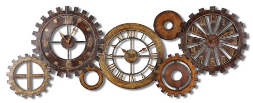 Exposed Gears Multiple Wall Clock Collage | Long Brown Gold Silver