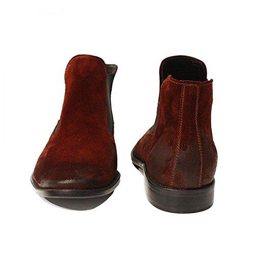 Handmade de Bottes Bordeaux Cuir des Vachette Suède Glisser Levi Hommes sur Italiennes pour Modello Bottines Chelsea Cuir qwSBnp8x5