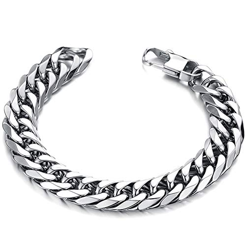 Bracelet Curb Double - Heavy Mens Bracelet 316L Stainless Steel Silver Color Punk Double Curb Cuban 16mm Thick Chain 8.5in