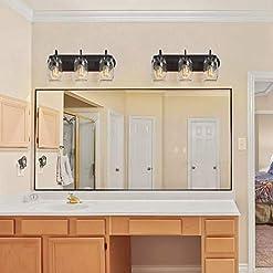 Farmhouse Wall Sconces LNC Bathroom Vanity Light Fixtures, Farmhouse Mason Jar Wall Sconce Over Mirror with Oil Rubbed Bronze, A02980 farmhouse wall sconces