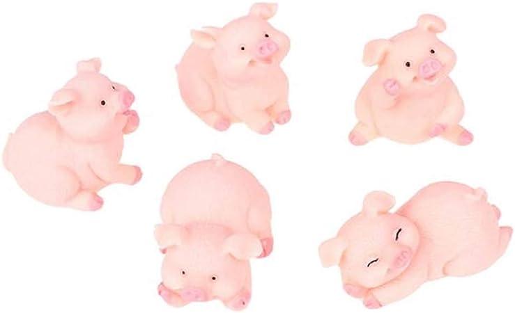 5pcs Resin Mini Cute Pig Figurine Model Micro Landscape Fairy Garden Decor Craft