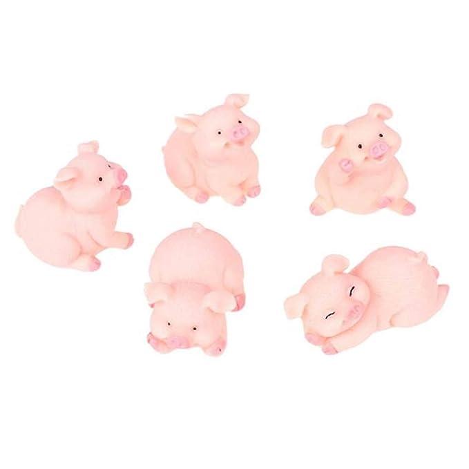 RAYNAG Set of 5 Miniature Pigs Figurines Cute Pig Cartoon Animal Crafts for Fairy Garden Decoration Home Decor