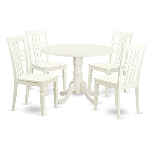 Cheap East West Furniture DLLG5-LWH-W 5 PC Small Kitchen Table Set with One Dublin Table & 4 Dining Chairs in Linen White Finish