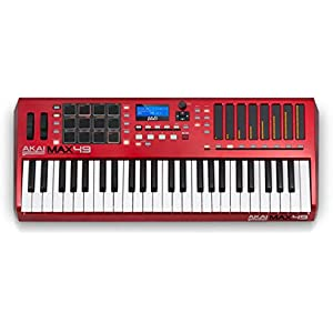 Akai Professional MAX49 | 49-Key USB MIDI Keyboard & Drum Pad Controller with CV/Gate Outputs (12 Pads / 8 LED Touch Faders)