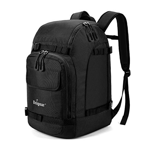 Unigear Ski Boot Bag, 55L Ski Boot Travel Backpack for Ski Helmet, Goggles, Gloves, Skis, Snowboard & Accessories (Black)