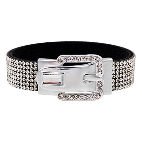 one Belt Buckle Wrap Bracelet for Women (silver) (Rhinestone Buckle Bracelet)