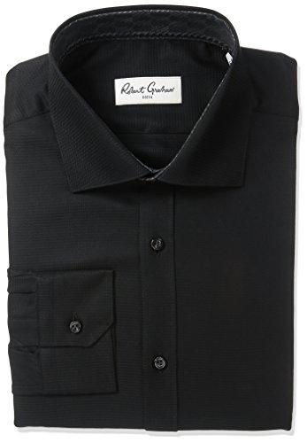 (Robert Graham Men's Classic Fit Joy Solid Dress Shirt, Black, 16