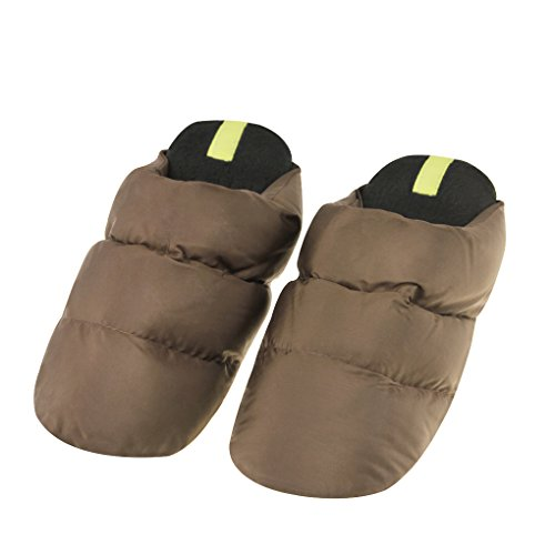 FakeFace Winter Lovers Super Warm Down Slipper Light Weight Soft Slip-on Flat Mules Machine Washable Plain Non-Slip Slippers Bedroom Indoor House Down Shoes for Adult Women Men, UK Size 3-7.5 UK Brown