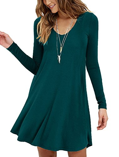 Viishow Women's Plain Long Sleeve Pleated Loose Swing Casual Mini Dresses (XXL, Long Sleeve Dark ()