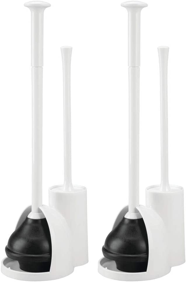 mDesign Modern Slim Compact Freestanding Plastic Toilet Bowl Brush Cleaner and Plunger Combo Set Kit with Holder Caddy for Bathroom Storage and Organization - Covered Lid Brush, 2 Pack - White