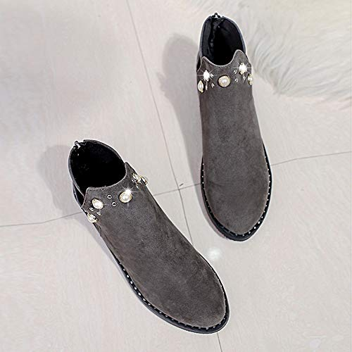 Shoes Women Vintage Ankle Vintage Gray Ladies Boots Martain Pearl Zipper Boots Flat Elegant Slipper HCFKJ Shoes Suede Boots zAnqF