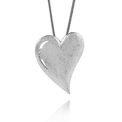 Kettenanhänger silber  MATERIA Zirkonia Herz Anhänger silber matt gebürstet - 925 Silber ...