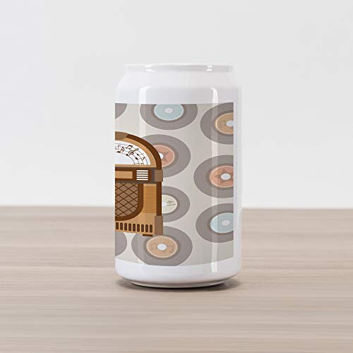 Ambesonne Jukebox Cola Can Shape Piggy Bank, Pick Up Music with Vintage Abstract Long Players Backdrop, Ceramic Cola Shaped Coin Box Money Bank for Cash Saving, Brown Pale Coffee Grey and Peach