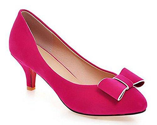 Chfso Womens Elegante Fiocco Fiocco A Punta Slitta Su Tacco Basso Gattino Pumps Rosso Rosato