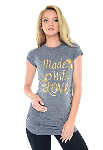 "Purpless Maternity ""Made with Love"" - Camiseta Para Embarazada B2015 Marl Gray Melange"