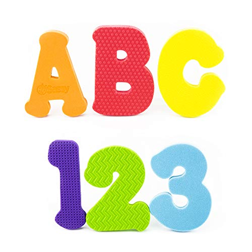 Sassy Count N Spell Bath Appliques - 3+ Years - 36 Piece Set Includes 26 Floating Letters A-Z, 10 Numbers 0-9, Made of Soft, Durable, Non-Toxic Foam