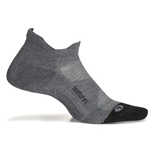 Feetures Unisex Elite Max Cushion No Show Tab Athletic Running Socks (Medium/Men 6-8.5 Women 7-9.5, Gray)