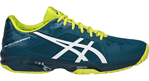 ASICS Men's Gel-Solution Speed 3 Ink Blue/White/Sulphur Springs 11 D - Game Shoe Tennis 3