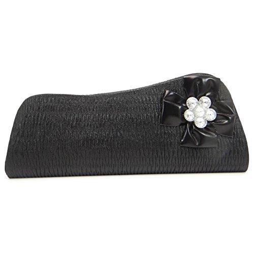 Partido De Tarde Del Bolso De Mano Negro Floral Con Cuentas Broche Del Bolso De Cuero Del Embrague De La India Negro