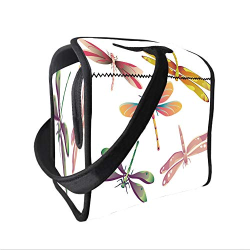 Neoprene Lunch Tote Bag with Shoulder Strap,Dragonfly,Five Spiritual Bugs in Modern Abstract Patterned Beauty Elegance Artsy Motif Decorative,Multicolor,for boys girls and adults