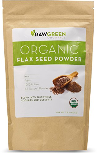 Raw Green Organics - Organic Flax Seed Powder - 100% Raw All Natural Powder Rich in Iron and Fiber - 7.8 oz. (221 Grams)