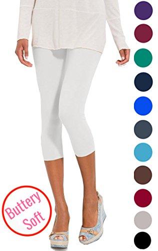 White Capri Leggings (LMB Lush Moda Extra Soft Capri Leggings - Variety of Colors - White)